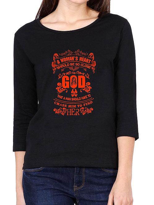 Black Round Neck 3/4 Sleeve a Woman T Shirt