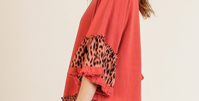 Coral and Leopard Ruffle SleeveTop -UMG