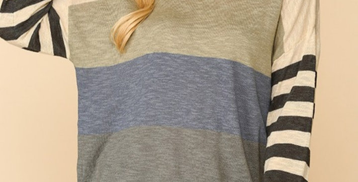 Navy/Olive Color Block Top #0022 G