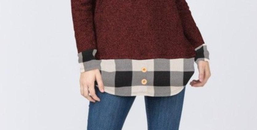 Buffalo Plaid Trimmed Tunic/2 Colors