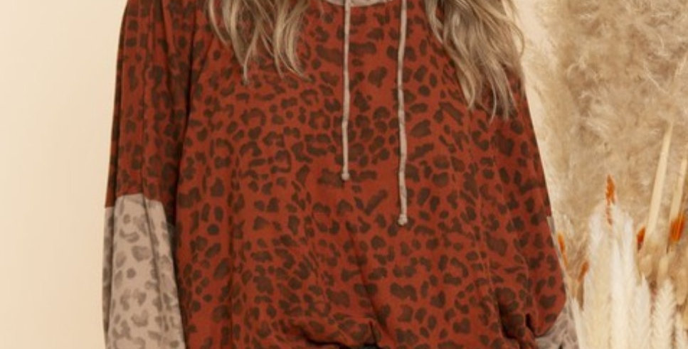 Leopard Print Oversized Tunic with Hooded Neck