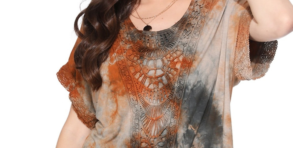 Embroidered Tie Dye Top-tp