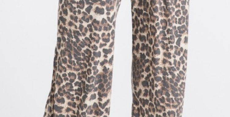 Leopard Side Slit Pants -7THR022
