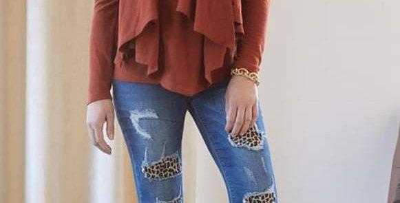 Distressed Leopard Jeans #0011 JB