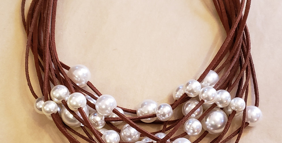 Brown Multi Leather Strand with Faux Pearls 18-20 inches