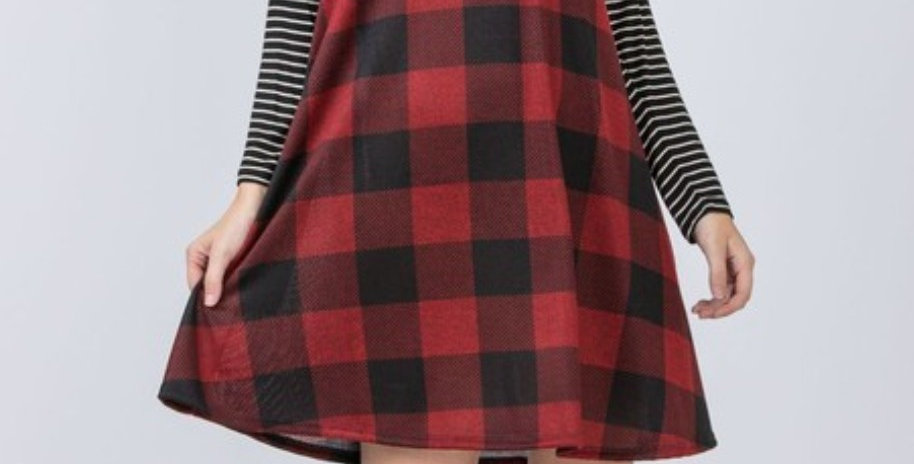 Red Plaid Dress with Striped Sleeves