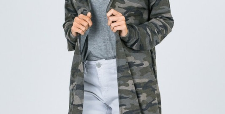 Camo Hoodie Duster #0022 LM
