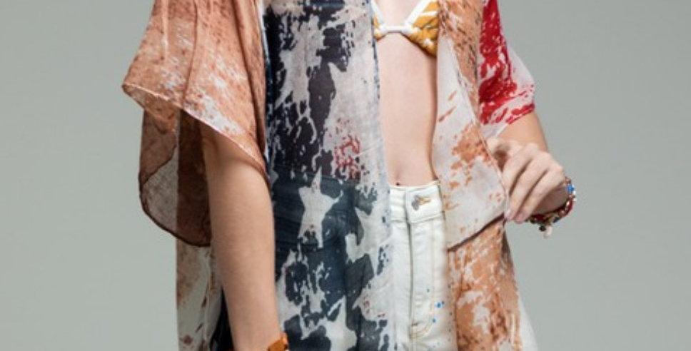 Vintage Look Flag Kimono -011