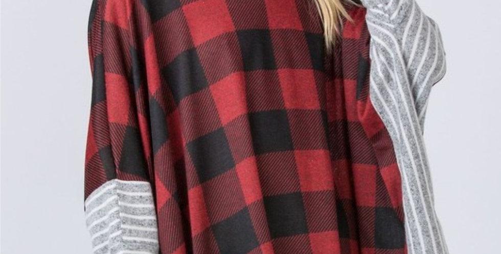 Dolman Sleeve Red Buffalo Check Tunic-EG