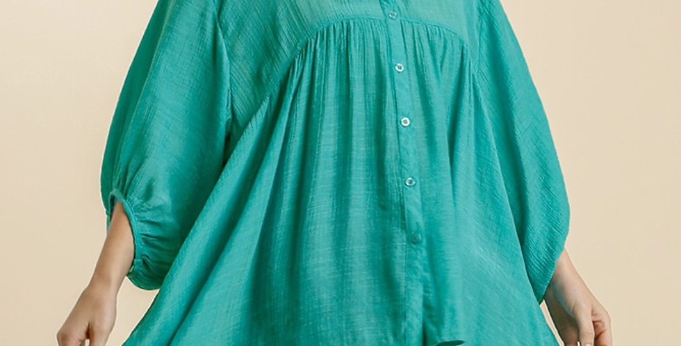 Turquoise Button Down -U011