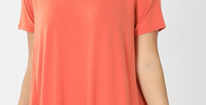Hi-Low Short Sleeve Ruffled Tunic 4 Colors