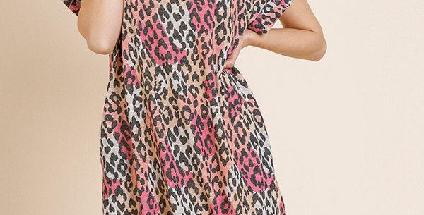 Berry Leopard Dress -Umg