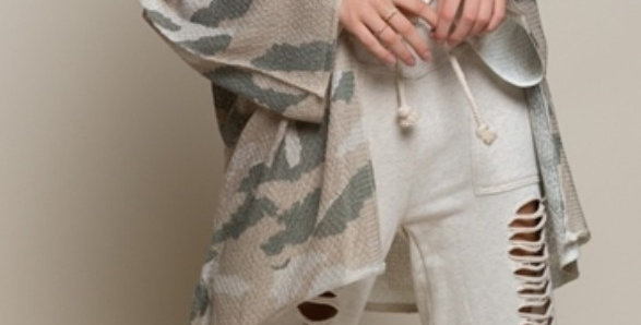 Light Weight Cardigan Camo Sweater-Pol