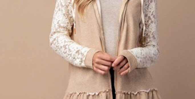 Taupe Lace Sleeve French Terry Hoodie Cardigan N5447