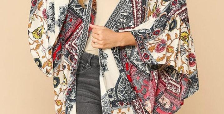 Grey/Red Kimono GIO #0022