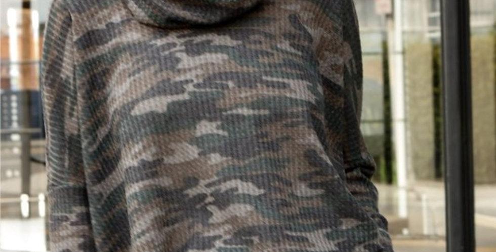 Camo Dolman Sleeves Tunic