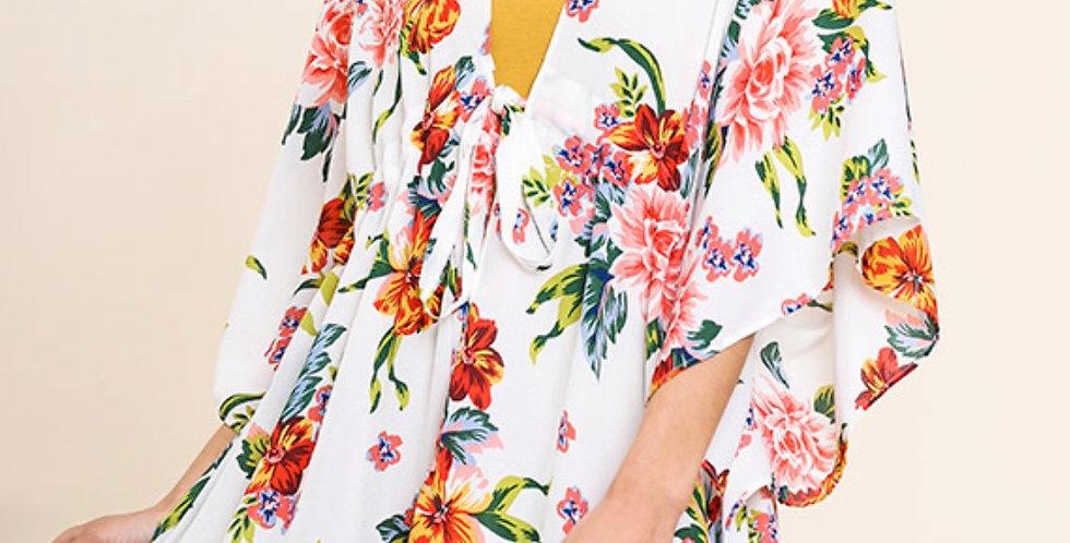 Creamy Floral Kimono -U011