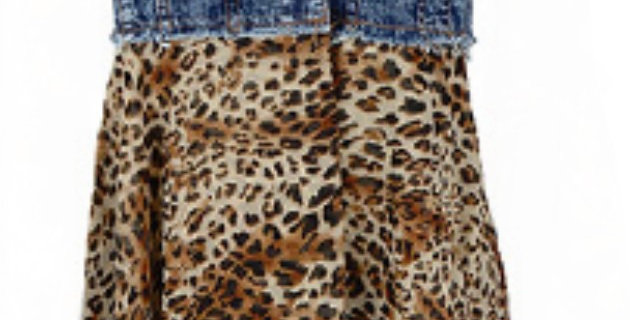 Denim Leopard Long Vest- Yah