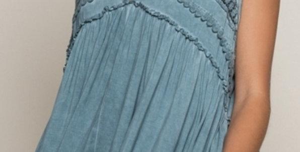 Crochet Detailed V-Neck Ruffled Top-Pol
