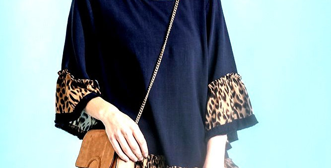 Navy And Leopard Ruffle Sleeve Top- UMG