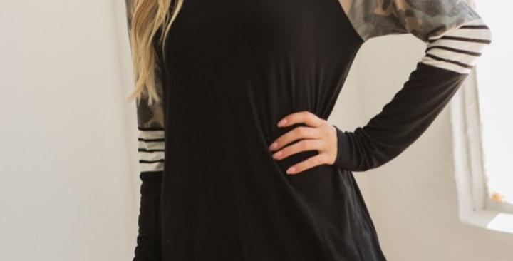Black Camo Stripe Top #0022