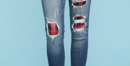 Buffalo Red Plaid Jeans- JB