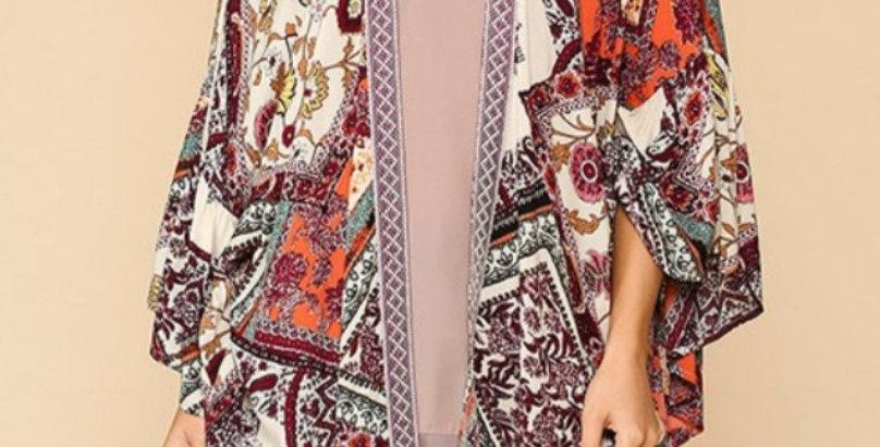 Orange Plum Mix Kimono -G022