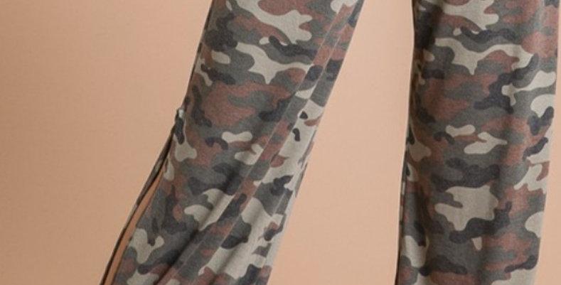 Camo Side Slit Pants -7THR022