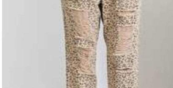 Leopard Drawstring Distressed Jeans #0022E