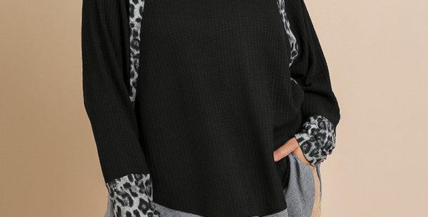 Black Waffle Knit  with Snow Leopard Trim