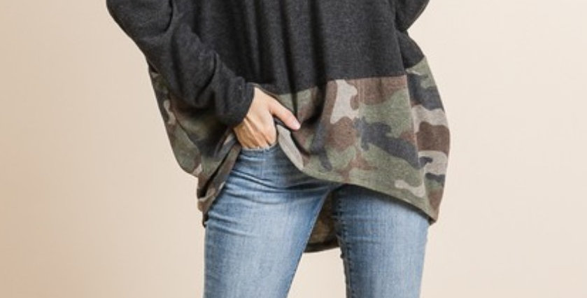 Dolman Sleeve Tunic with Camo Detail
