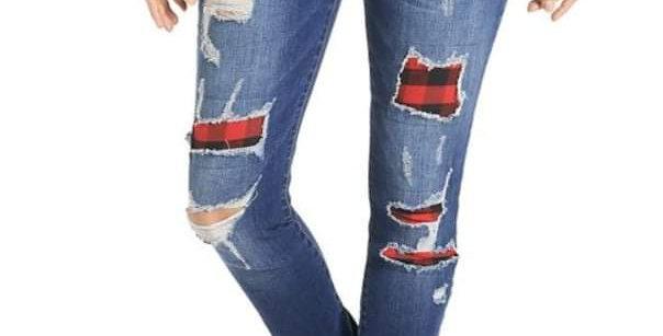 Buffalo Plaid Distressed Jeans #0011 OMG