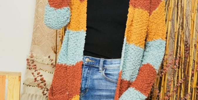 Color Block Sweater Duster #0011 AD