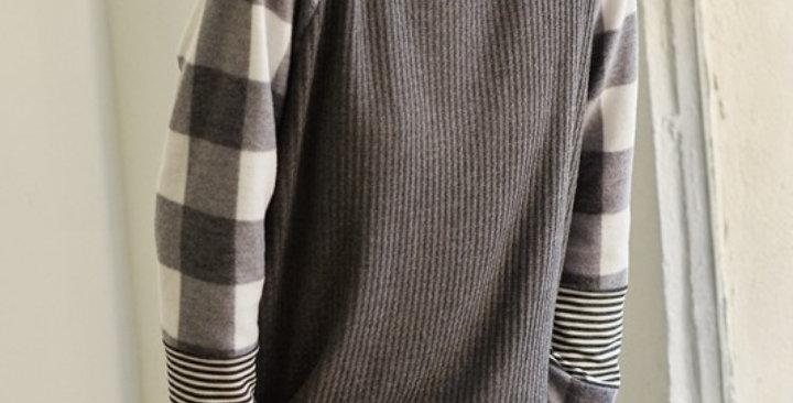Black/White Plaid Stripe Top #0022
