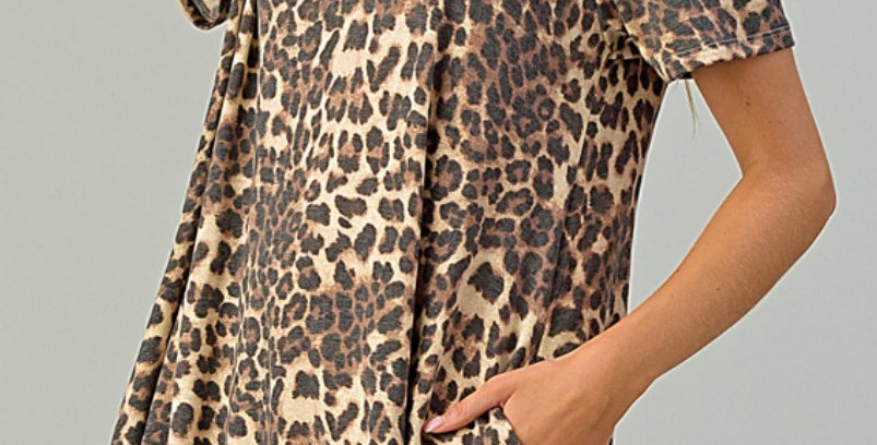 Leopard Dress With Pockets-Yah