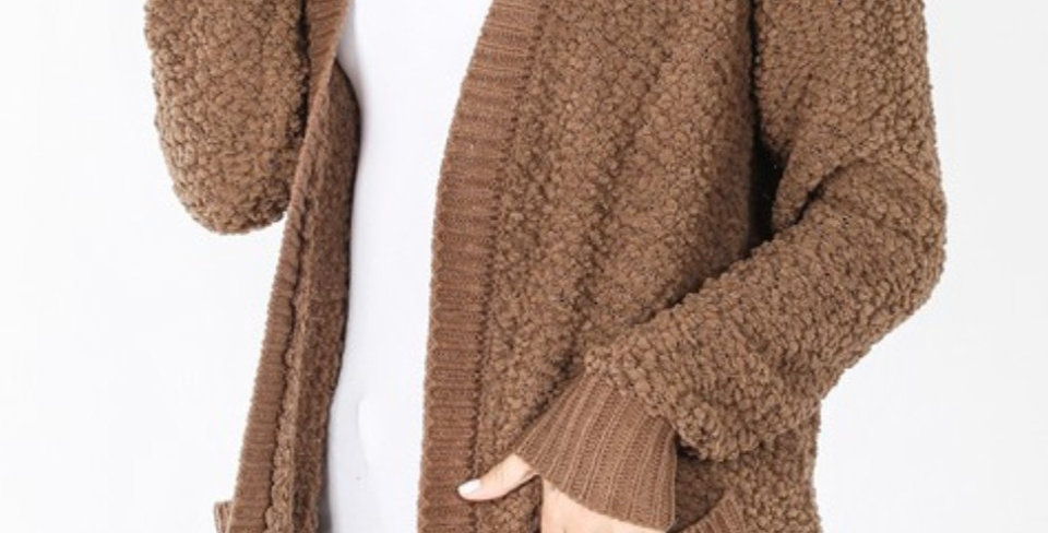 Mocha Popcorn Sweater with Pockets