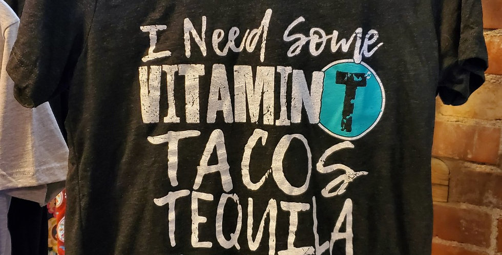 V-Neck Tee  Vitamin T Tacos Tequila Turquoise