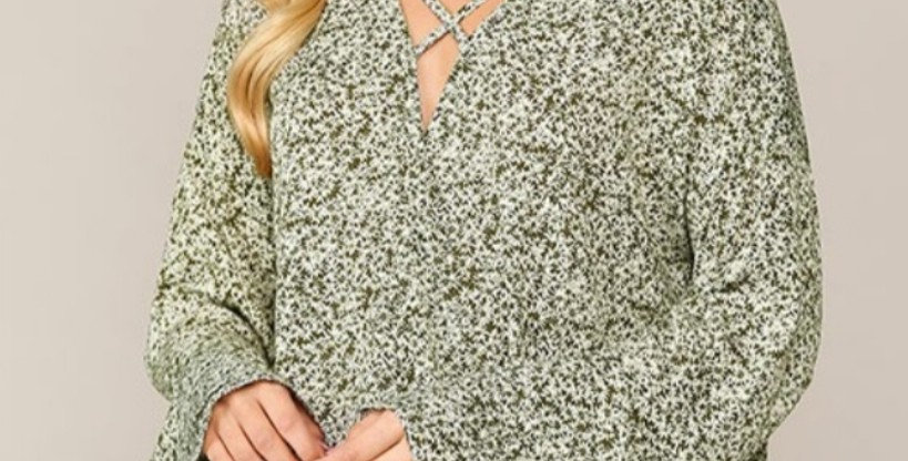 Olive Bell Sleeve Daisy Top -G022