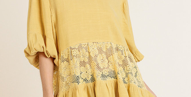 Mustard Top with Lace Accent-Umg