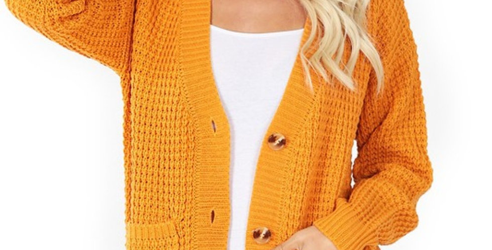 Waffle Knit Sweater with Buttons