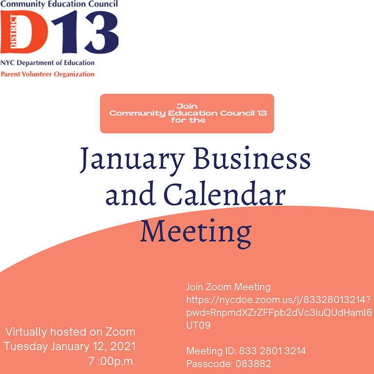 CEC Business and Calendar Meeting