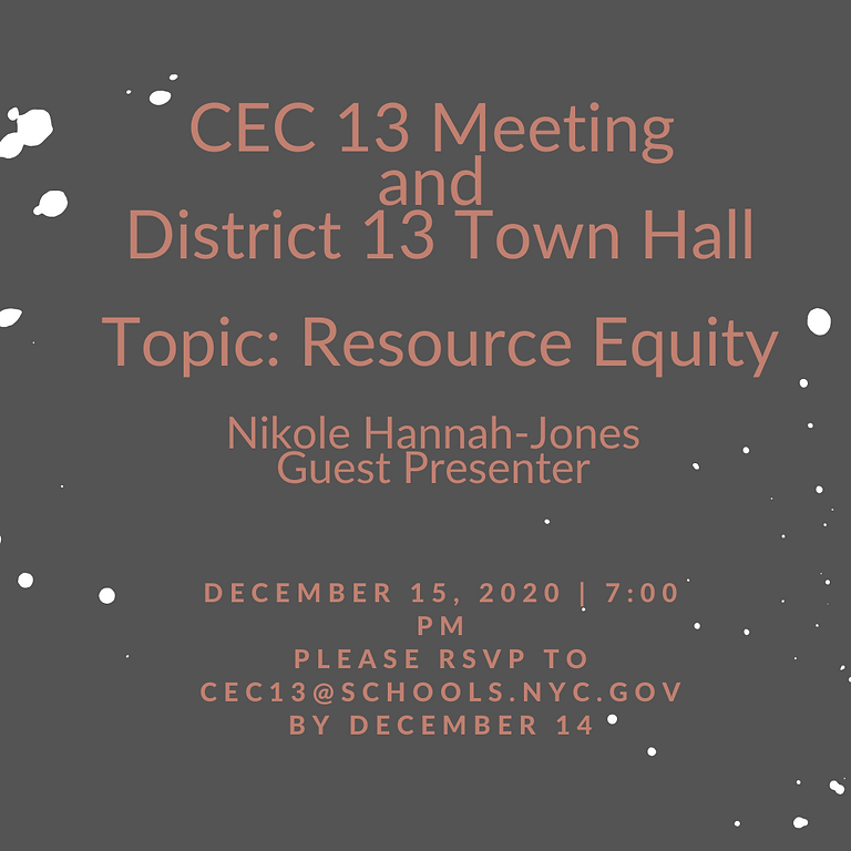 CEC Meeting and District 13 Race and Equity Town Hall:Resource Equity