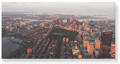 Downtown Boston Aerial Sunset  - Wooden Canvas Print