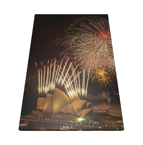 Sydney, Australia Fireworks - Wooden Canvas Print