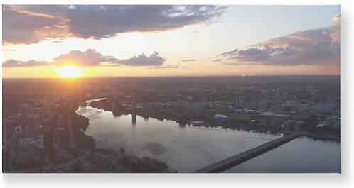 Sunset Aerial Boston, Massachusetts - Wooden Canvas Print