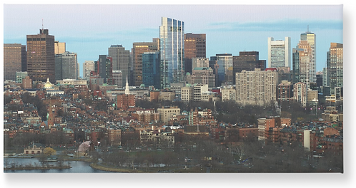 Boston Back Bay Aerial - Wooden Canvas Print