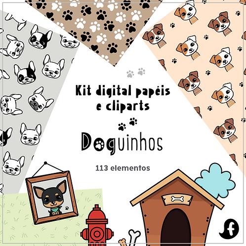 Kit papéis e cliparts Doguinhos
