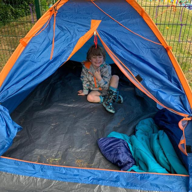 Setting up camp!