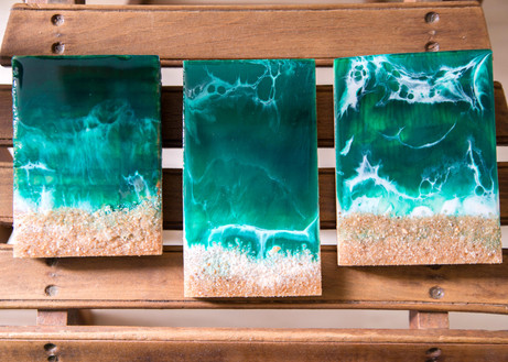 Resin art on recycled wood