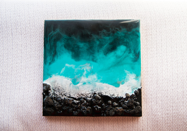 Mosteiros · Resin art on MDF pannel 20x20 cm